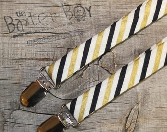Black and Metallic Gold diagonal stripe little boy suspenders - photo prop, wedding, ring bearer, birthday, accessory