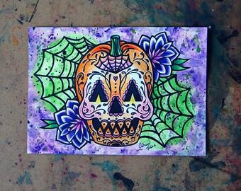 ORIGINAL Painting - ooak Tattoo Flash Cute Halloween Jackolantern Sugar Skull Illustration