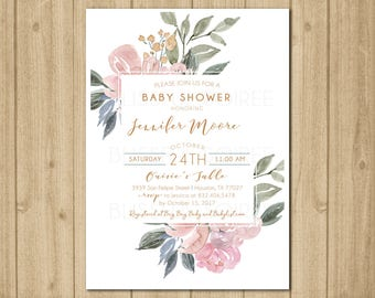 Floral Watercolor Baby Shower Invitation | Rustic Floral | Vintage Baby Shower Invite | Baby Shower Brunch | Birthday | Bridal Shower | BS35