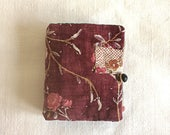 Needle-case from very vintage French fabrics, quilt pieces and mattressing textile with old buttons and secret pocket patches from fragments