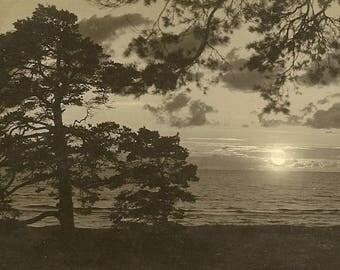 Vintage RPPC Sunset in Saulkrasti Latvia – 1936 Vintage Latvian Postcard Saules riets Saulkrastu Jurmala