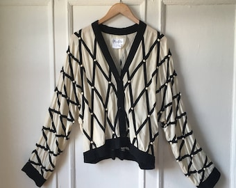 80s Silk Cardigan Baseball Jacket Black and white