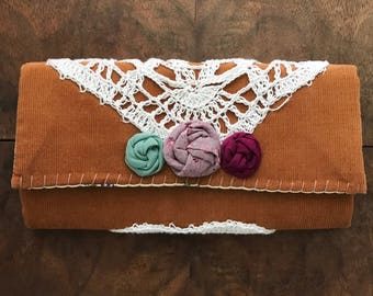 Camel Corduroy Trifold Clutch Wallet with White Crochet Doily and 3 Rosettes