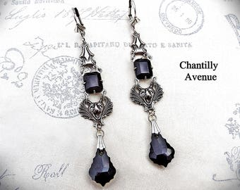 Jet Jewel Gothic Earrings,Victorian Jewelry Handmade Earrings, Black Rhinestone Earrings Handmade Gothic Jewelry