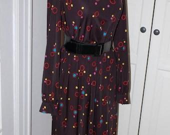 ON SALE 70s Dress, Secretary, Novelty Print, Polka Dots, Colorful Dots, Size M/L