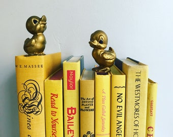 Vintage Yellow Books Instant Library Collection Decorative Books Photography Props