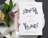 Botanical Calligraphy Wedding Program / 'Vintage Rose' Pocket-sized Order of Service Mass Booklet / Blue Pink / Custom Colours / ONE SAMPLE