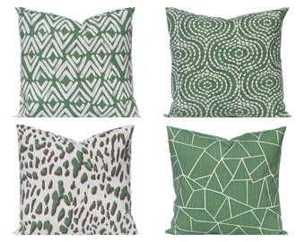 Pillow Cover - Forest Green - Throw Pillow Cover - Green and White - Sofa Pillow Covers - Forest Green Decor - Green Bedding - Green Cushion