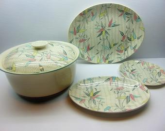 Vintage Myott Mandalay Bamboo Design Casserole Dish, Serving Platter, Oval Side Plate and Side Plate