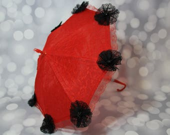 Red Lace Flower Girl Parasol Sun Umbrella with Black Lace Flowers, Child's Parasol, Young Girls Tea Party Sun Shade, Photo Prop,17072