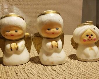 Vintage decorative holiday angels candles set