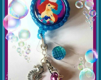 "Nurse Badge Reel Accessory ""Nurse Ariel"" the Little Mermaid Bottle Cap Retractable ID Name Tag, Medical Accessories, Unique Nursing Gifts"