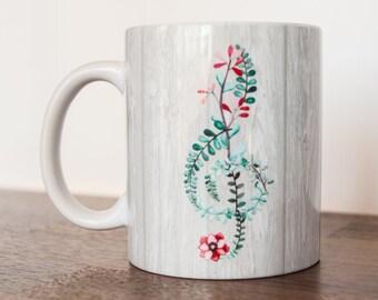 Floral Treble Clef Mug Musician Coffee Cup 11 oz
