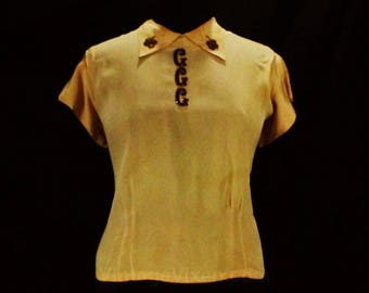Size 14 1940s Blouse - Owned & Worn by Hollywood Starlet Gladys Glad - Personalized GGG 40s Taupe Rayon Crepe Shirt - Short Sleeves - 49102