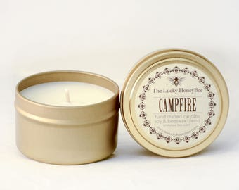 Campfire || 6 oz Scented Candle || Soy + Beeswax Blend Candle in Gold Tin