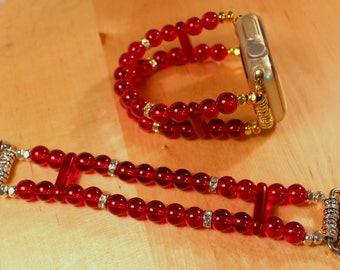 Watch Band for Apple Watch, Garnet Red Beads Apple Watch Bracelet, Watch Band, Watch Bracelet