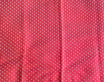 Red and White Dotted Swiss Vintage Cotton Fabric 1 Yards  X0867
