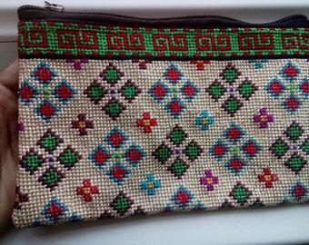 Uzbek silk hand embroidery purse. Cross stitch emboidery