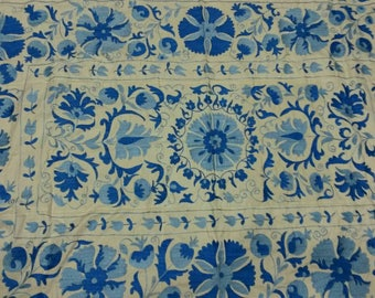 Uzbek hand embroidered blue  suzani. Wall hanging, bed cover suzani