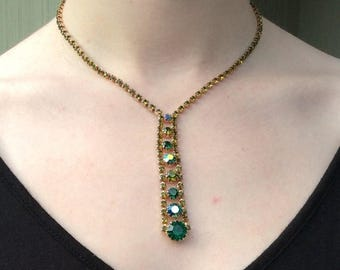 ANNIVERSARY SALE 3 Shades of Green Rhinestone Drop Necklace