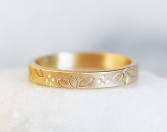 Gold Patterned Wedding Band - 3mm Wide Garden Band - choose yellow or rose gold - 14k or 18k - Eco-Friendly Recycled Gold
