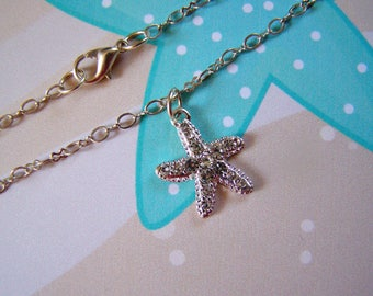 Starfish Anklet Crystal Pave Silver
