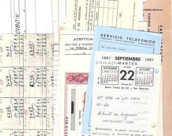 20 Office papers from Spain - Vintage Spanish Ephemera PAPER PACK