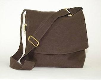 Organic Hemp Messenger Bag, Medium