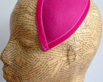 Teardrop Wool Felt Fascinator Base - Hot Pink