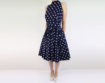 VINTAGE Polka Dot Dress Full Skirt Halter 1980s Blue White