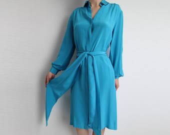 VINTAGE Shirtdress Silk Turquoise Blue Dress 1980s Halston Small
