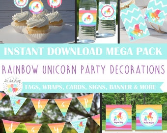 Unicorn Party Decorations - Huge INSTANT DOWNLOAD Set, Unicorn Birthday Party, Unicorn Baby Shower, Unicorn banner, favor tags, toppers