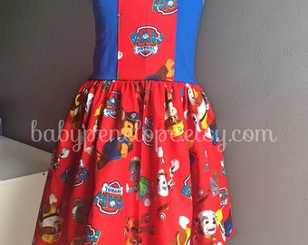 Ready to Ship - Paw Patrol Dress - Birthday Outfit - Cute Birthday Dress - Paw Patrol Birthday Party - Size 4