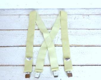 Wide tan/light brown stretch clip suspenders/beige braces/wide vintage suspenders