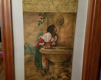Vintage Antique Painting Roman Girl at a Fountain Copy of Leon Bonnat As Is Scroll