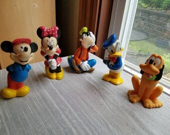 Vintage Lot of 5 Disney Rubber Toys Mickey Mouse Minnie Mouse Goofy Pluto Donald Duck 1980s 1990s Squeakers