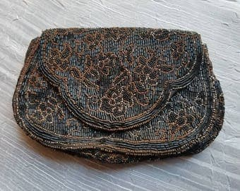 Vintage Hand Made in France Small Beaded Bag Black Iron Beads Rusted As Is Handle Snap Closure