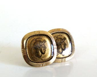 Vintage Spartan Cuff Links / Bronze & Gold Tone Cufflinks