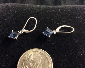 Sterling Silver and Blue Crystal Earrings