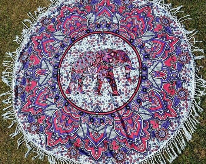 Pink and Purple Elephant Mandala Roundie with White Fringe Mandala Tapestry Beach Blanket Yoga Mat Meditation Mat Dorm Decor Hippie Tapestry