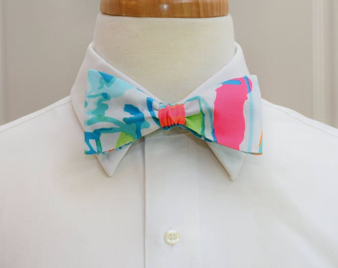 Men's Bow Tie, Beach and Bae, aqua/turquoise/pink Lilly print, sailboat bow tie, beach bow tie, wedding bow tie, groom/groomsmen bow tie