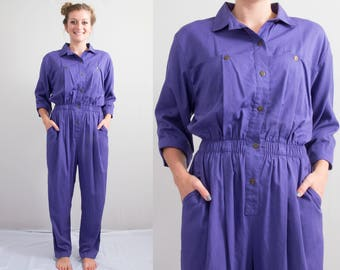 Vintage Purple Dreams Jumpsuit * 80s - 90s Pantsuit * Boho Festival Boxy Fit * Size Large * FREE SHIPPING