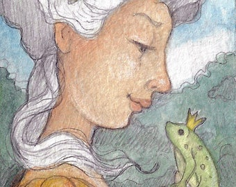 The Frog Prince....Original ACEO