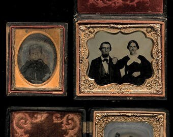 vintage photo lot probable texas family ambrotypes & tintype - flower union case
