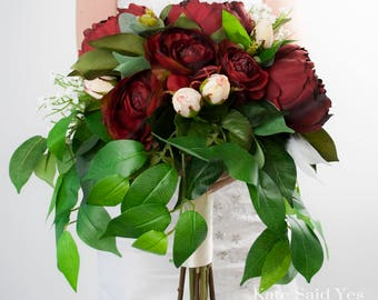 Greenery Bouquet, Silk Wedding Bouquet, Greenery Wedding Bouquet, Peony Bouquet, Burgundy Bouquet