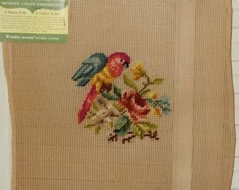 """Vintage Small Needlepoint Canvas-Pink & Blue Parrot on Rose-Bucilla-13"""" x13""""-FREE SHIPPING!"""
