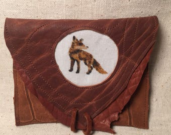 Scrappy Simple Fox patchwork leather wallet pouch