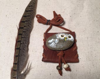 Owl spirit stone with buffalo hide pouch