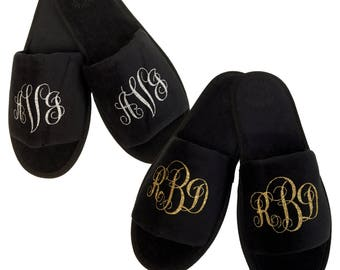 Custom Monogram Slippers- Black with Gold or silver