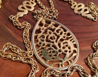 Japanese Style Gold Tone 2 Strand Necklace With Pendant
